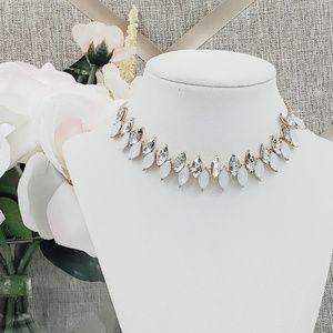 INC Choker Necklace Opal & Clear Rhinestone